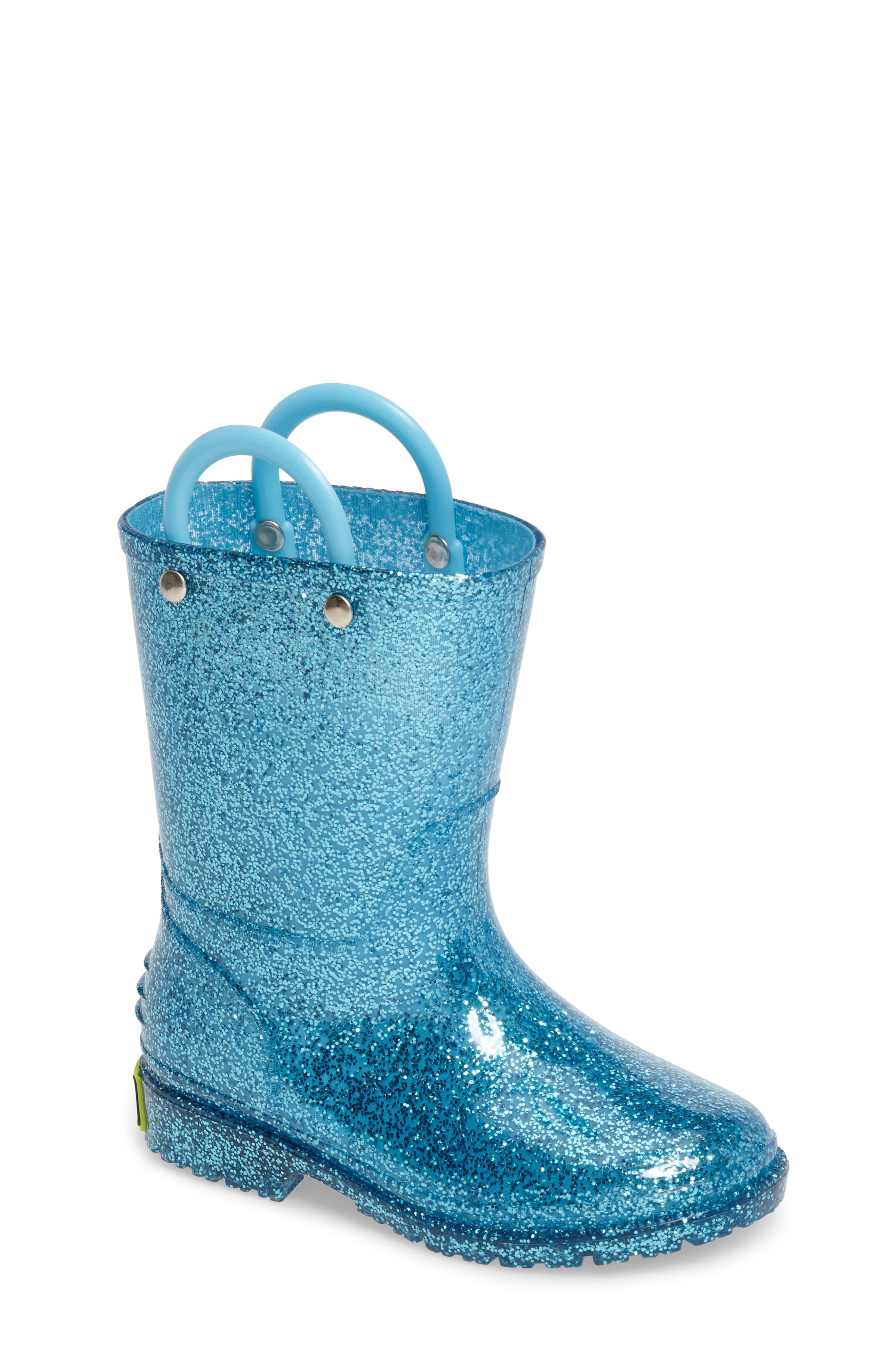 ,                             Glitter Waterproof Rain Boot,                             Main thumbnail 1, color,                             TURQUOISE
