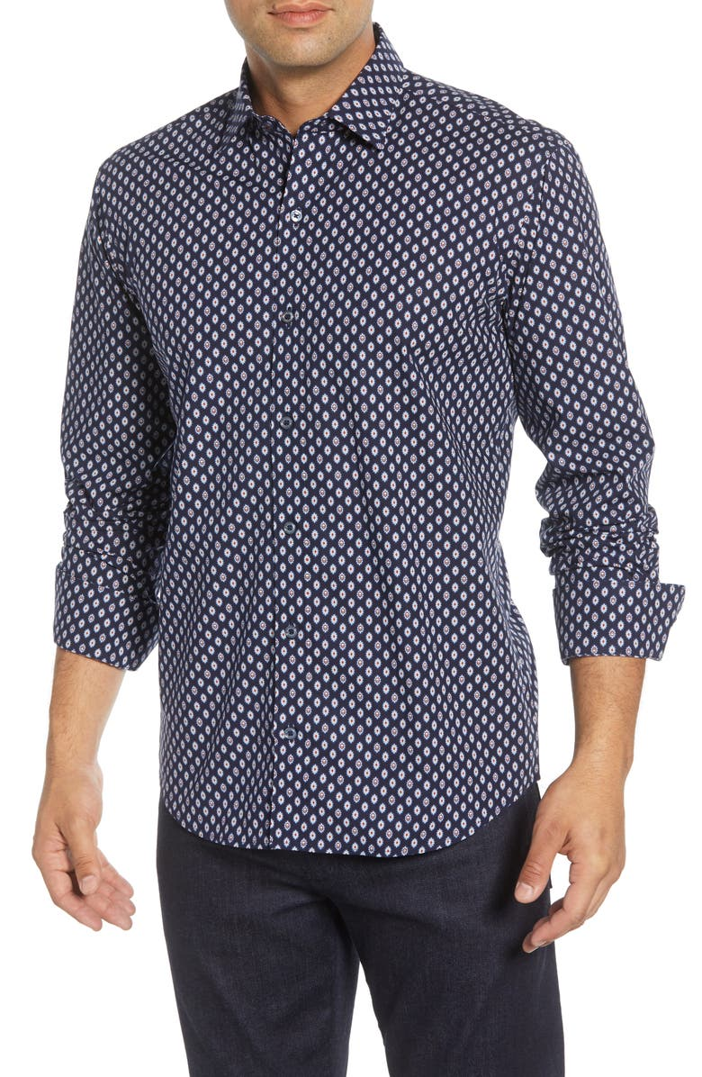 BUGATCHI Shaped Fit Cotton Shirt, Main, color, MIDNIGHT