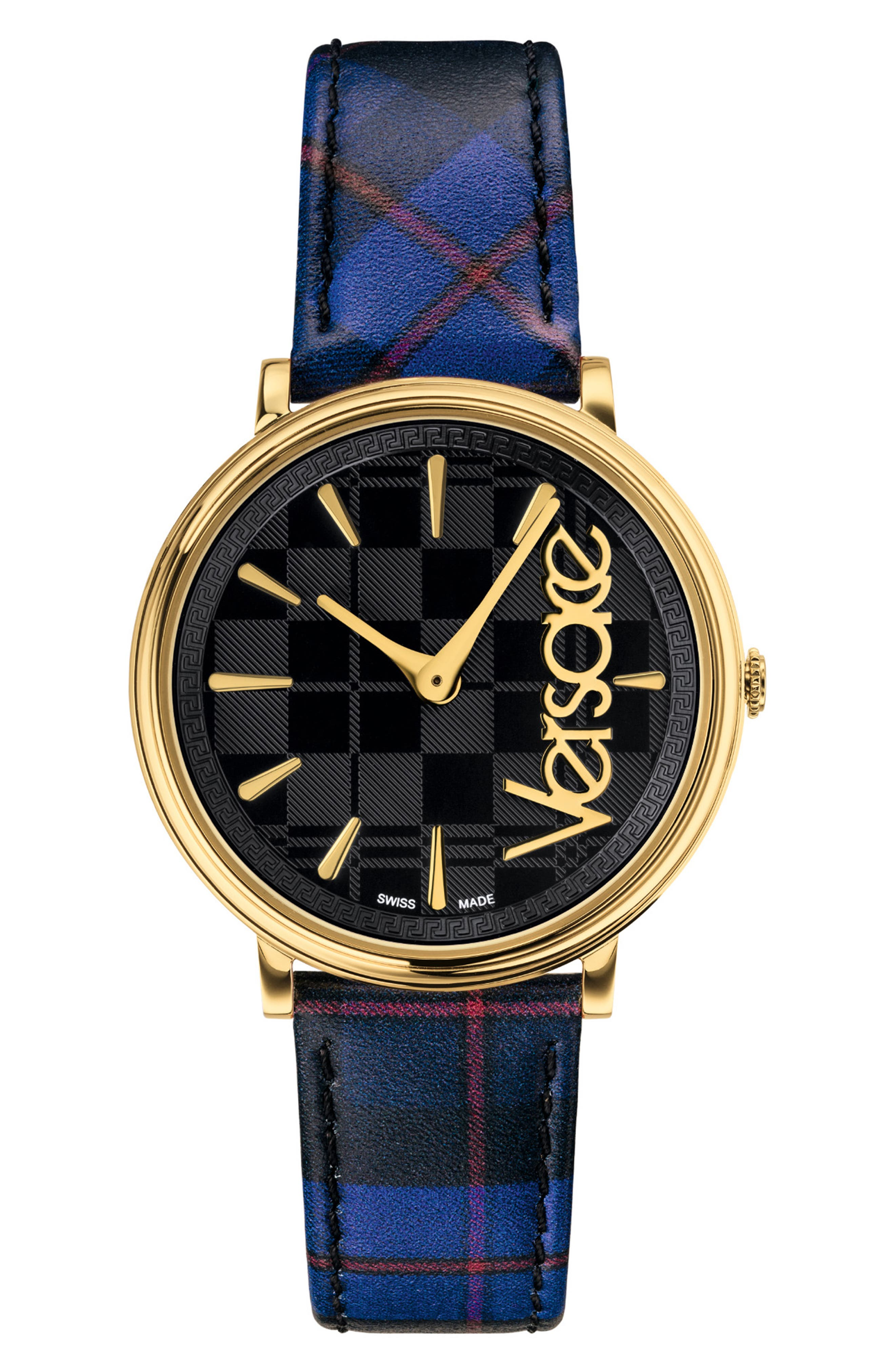 V Circle Clans Edition Leather Strap Watch, 38mm, Main, color, TARTAN BLUE/ BLACK/ GOLD