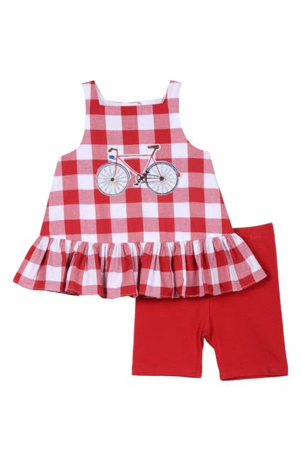 Image of Pastourelle by Pippa and Julie Bicycle Ruffled Tank Top & Shorts Set