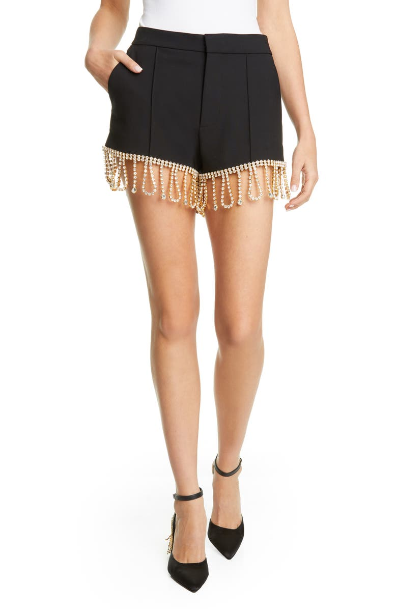 AREA Crystal Hem Tailored Shorts, Main, color, BLACK