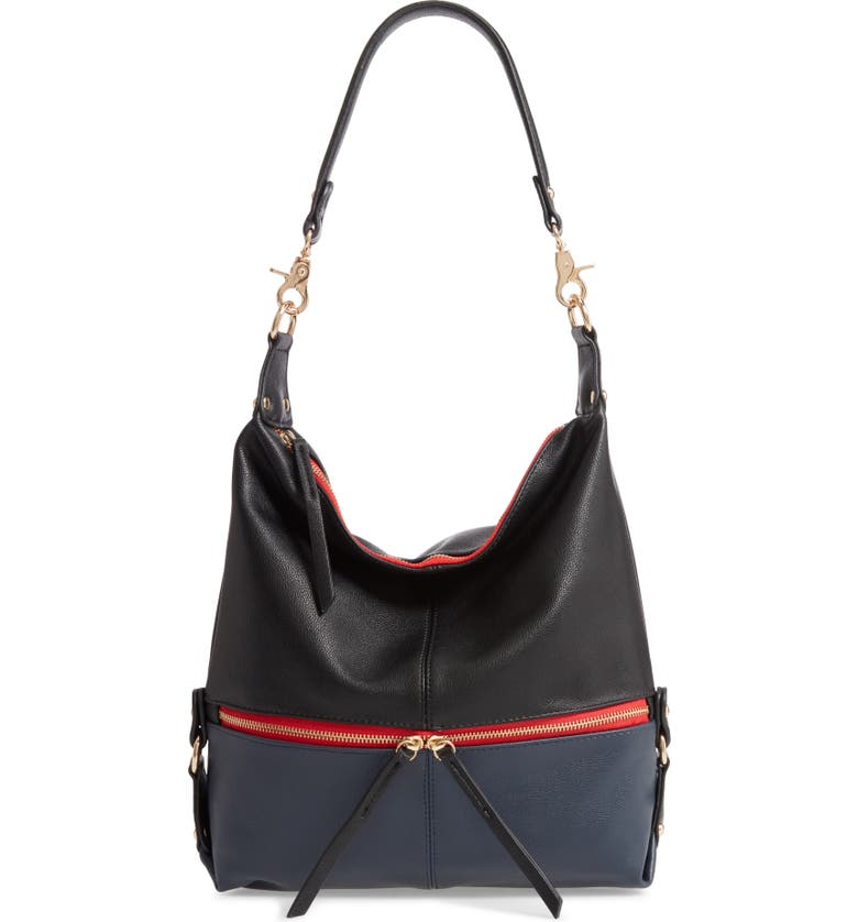 SONDRA ROBERTS Colorblock Faux Leather Hobo Bag, Main, color, 001