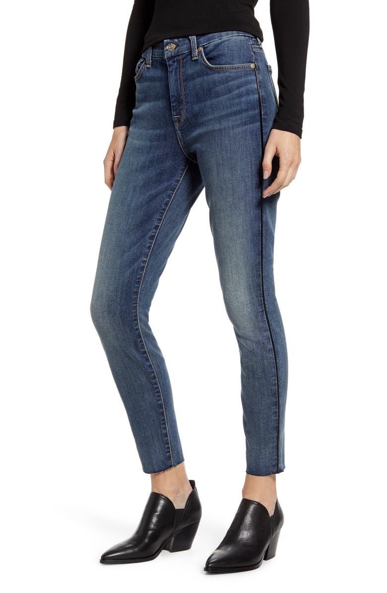 7 FOR ALL MANKIND<SUP>®</SUP> Piped High Waist Ankle Skinny Jeans, Main, color, AUTHENTIC LUCK