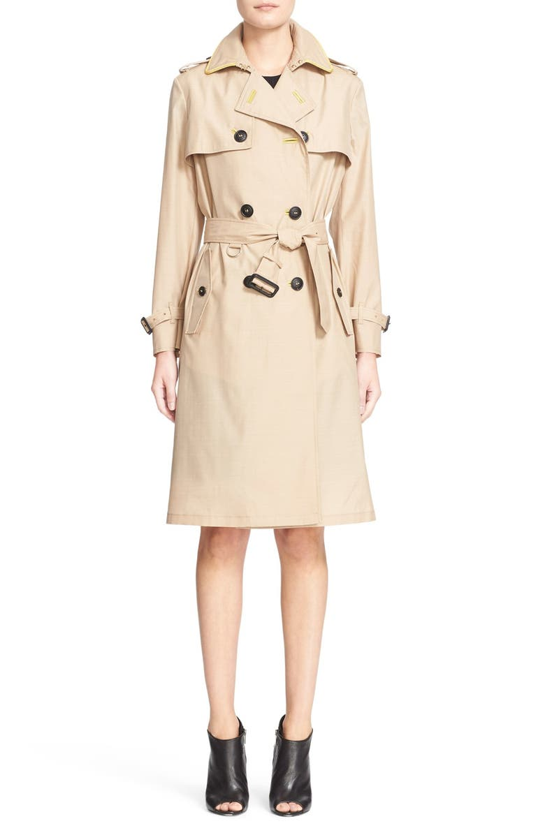 BURBERRY PRORSUM Mulberry Silk & Wool Trench Coat, Main, color, 231