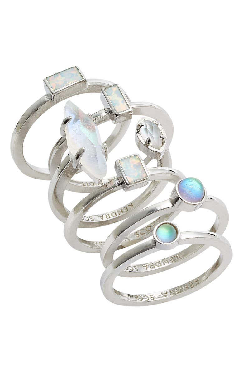 KENDRA SCOTT Phoebe Set of Six Stacking Rings, Main, color, SILVER ESCAPE MIX