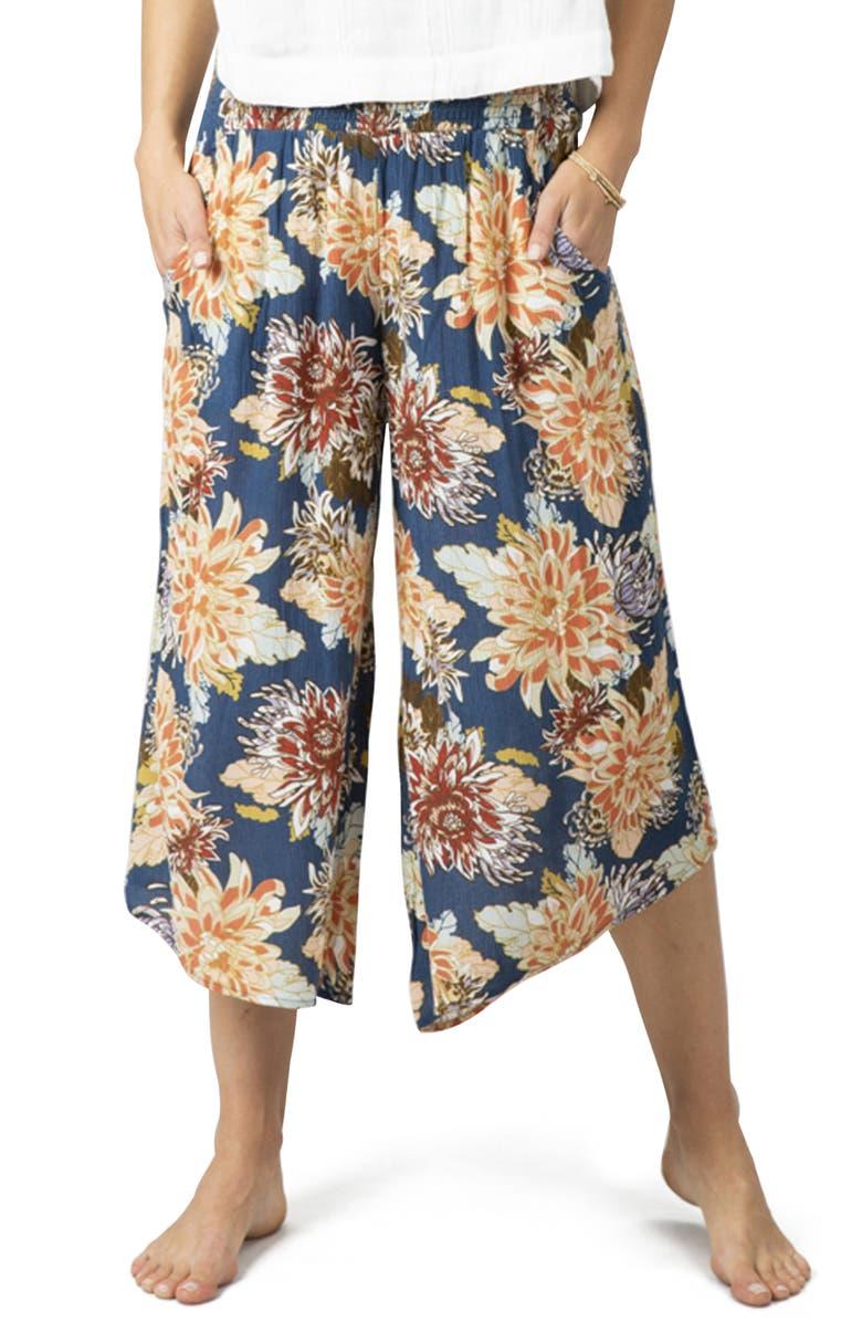 RIP CURL Sunsetters Floral Wide Leg Crop Pants, Main, color, 493