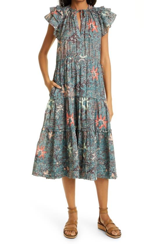 Ulla Johnson Cottons REMA FLORAL RUFFLE SLEEVE COTTON BLEND DRESS