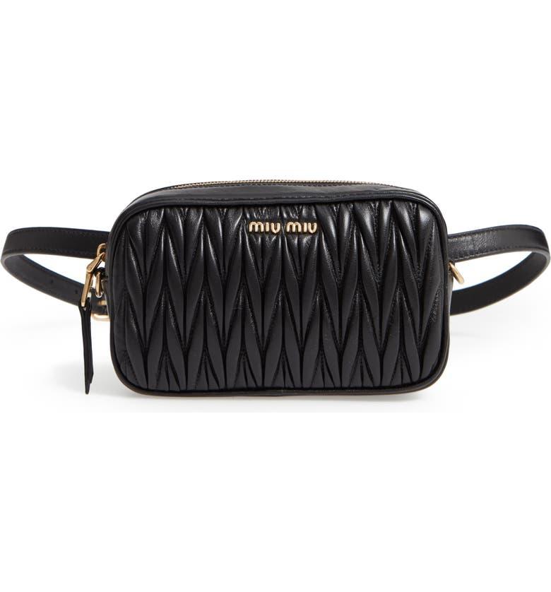 MIU MIU Rider Matelassé Leather Belt Bag, Main, color, 001