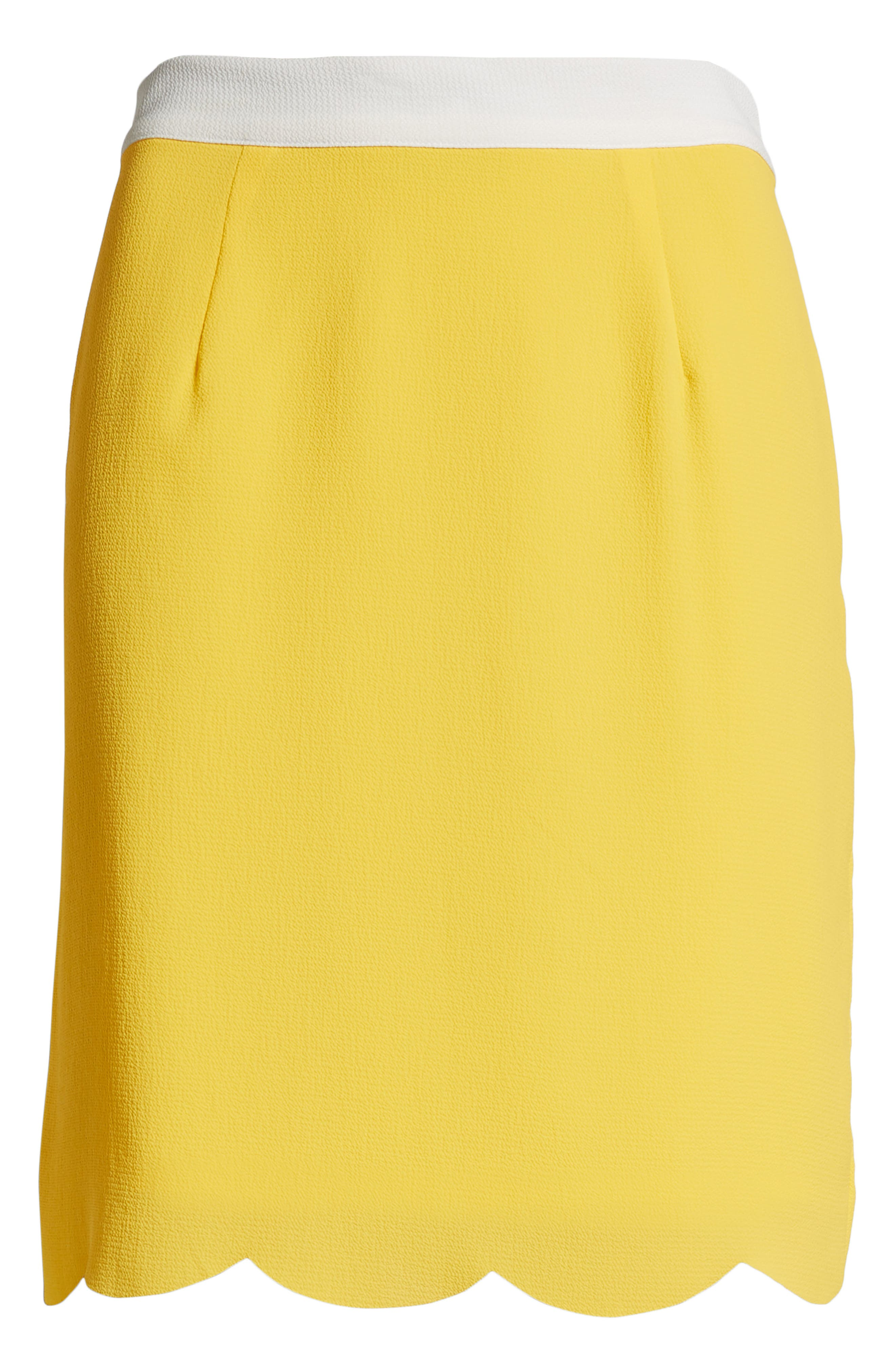 ,                             x Living in Yellow Daphne Scallop Hem Skirt,                             Alternate thumbnail 6, color,                             YELLOW W/ IVORY