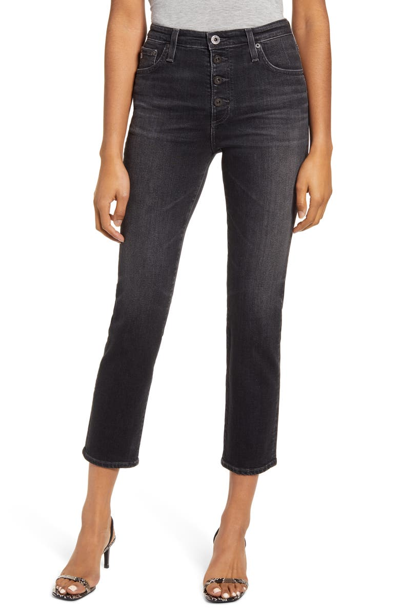 AG The Isabelle High Waist Button Front Ankle Straight Leg Jeans, Main, color, 5 YEARS RESERVE