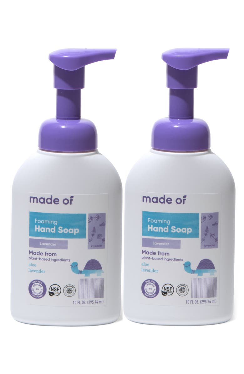 MADE OF 2-Pack Organic Foaming Lavender Hand Soap, Main, color, 960