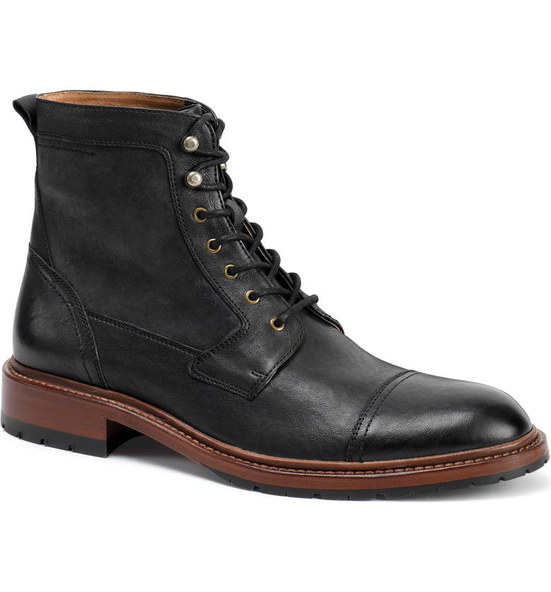 TRASK 'Lowell' Cap Toe Boot, Main, color, BLACK WASHED LEATHER