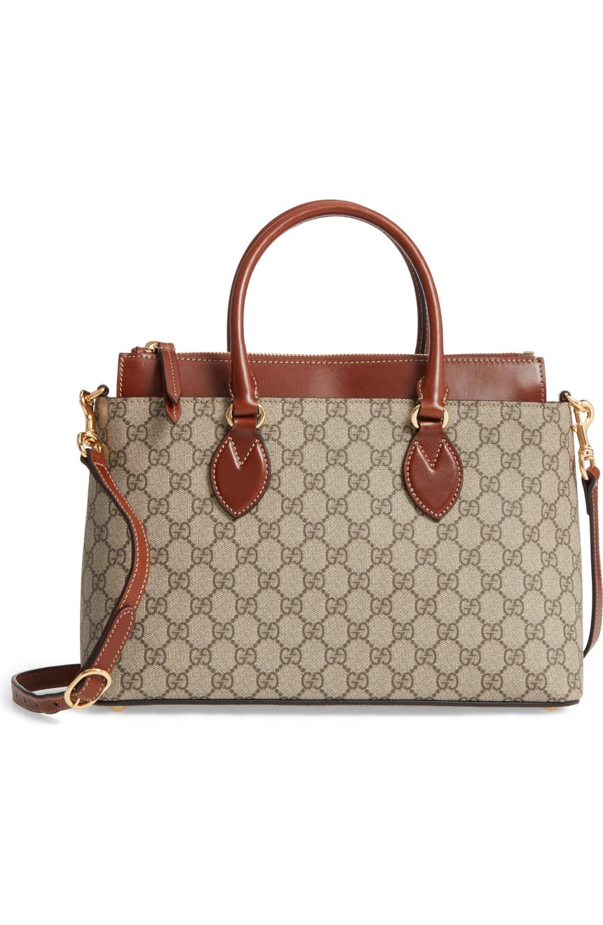 3530bc9c9184 Gucci Small Top Handle GG Supreme Canvas & Leather Tote | Nordstrom