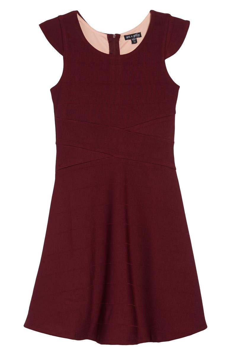 AVA & YELLY Skater Dress, Main, color, BURGUNDY