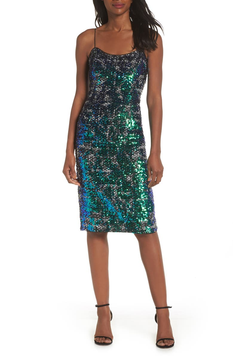 ADRIANNA PAPELL Sequin Tweed Dress, Main, color, 320