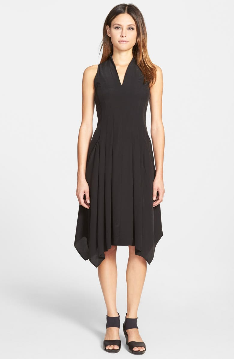 EILEEN FISHER V-Neck Silk Dress, Main, color, 001
