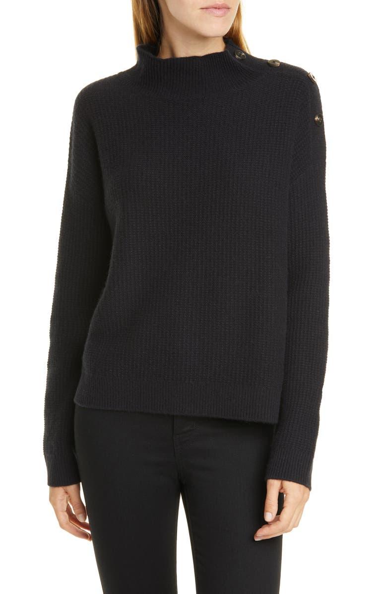 NORDSTROM SIGNATURE Button Shoulder Cashmere Pullover, Main, color, 001