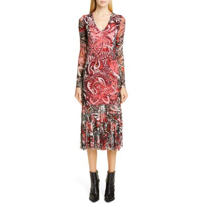 Fuzzi Mystical Print Long Sleeve Midi Dress, Red