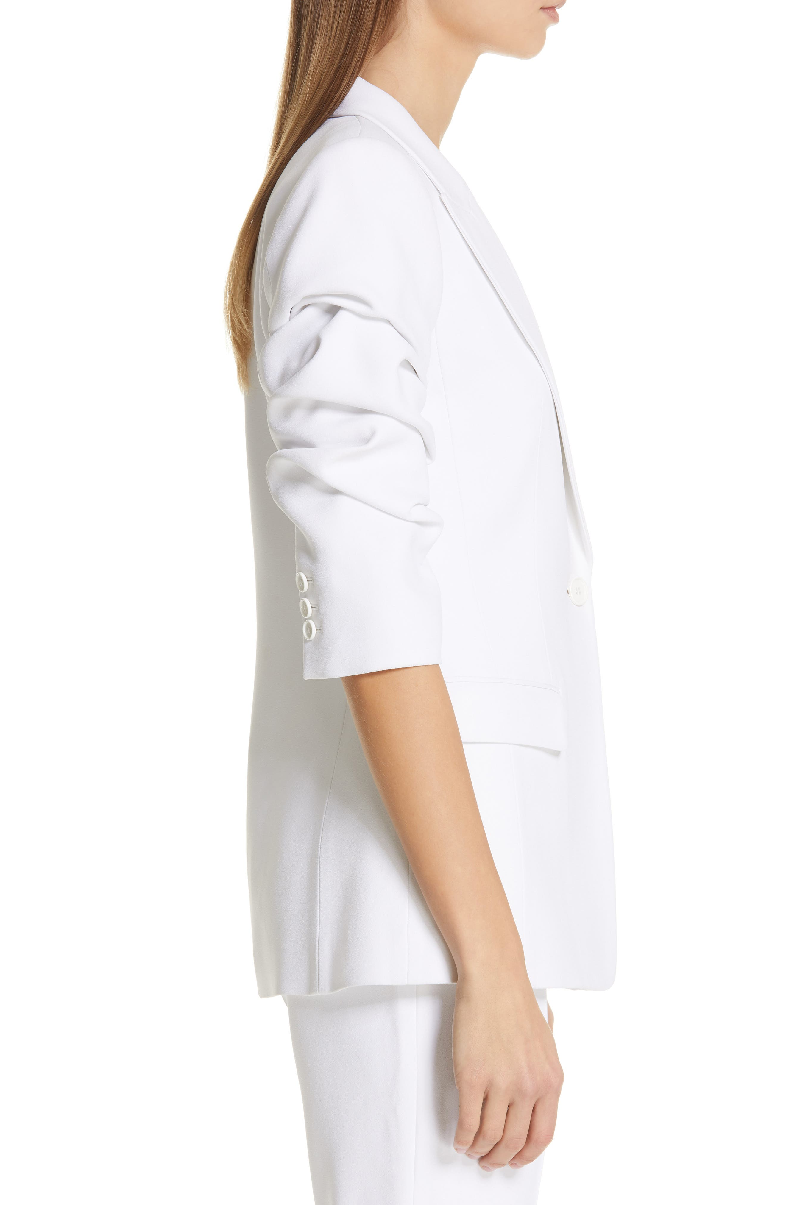 ,                             Ruched Sleeve Blazer,                             Alternate thumbnail 4, color,                             OPTIC WHITE