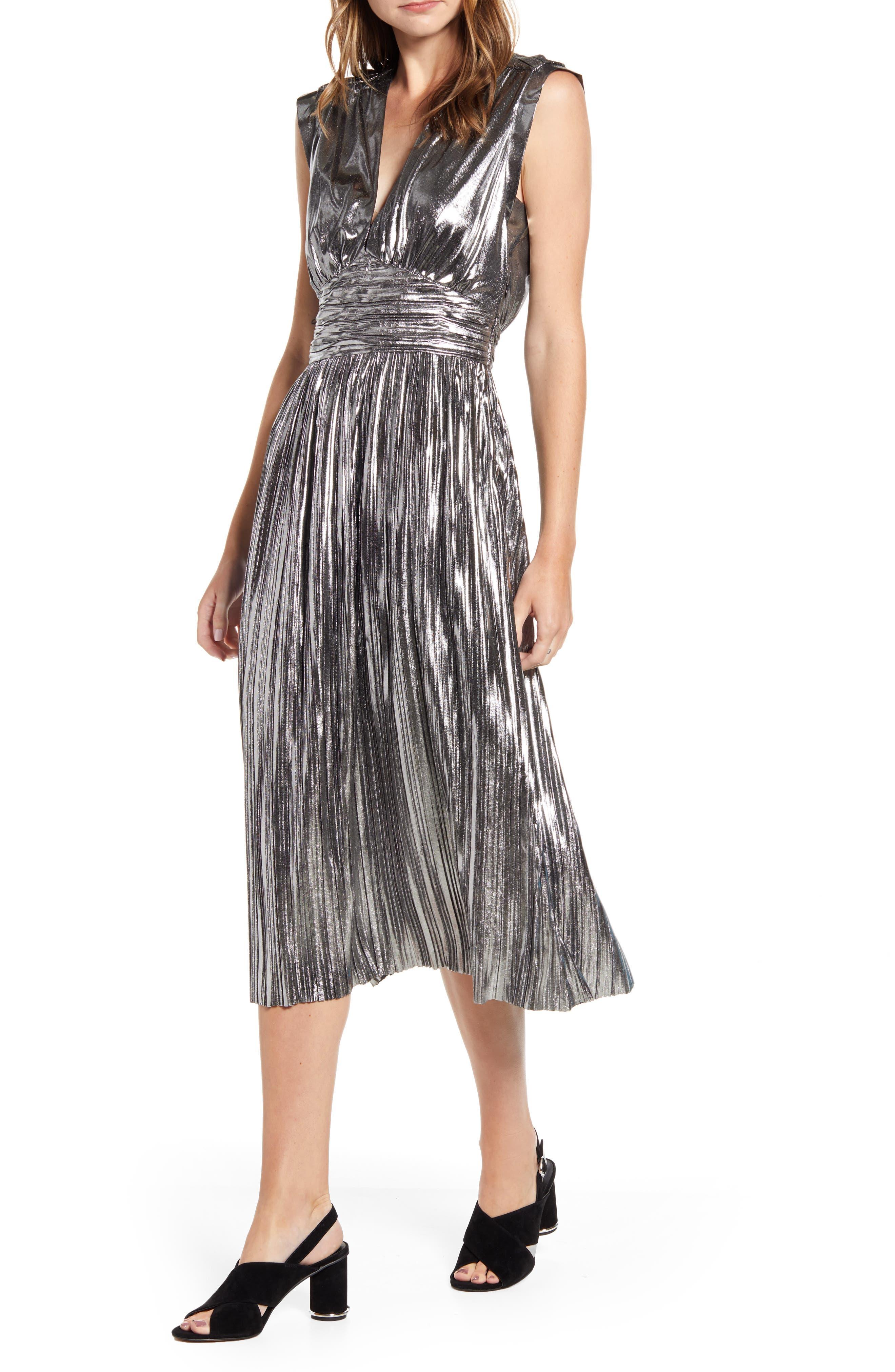 Vintage Cocktail Dresses, Party Dresses, Prom Dresses Womens Rebecca Minkoff Briella Metallic Halter Pleated Dress $298.00 AT vintagedancer.com