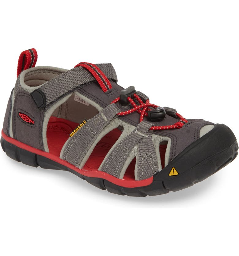 KEEN Seacamp II CNX Water Friendly Sandal, Main, color, MAGNET/ RACING RED