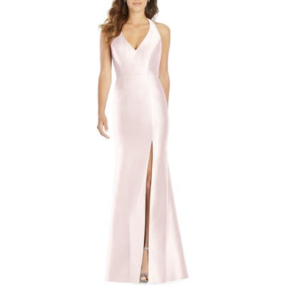 Plus Size Alfred Sung Halter Neck Sateen Twill Trumpet Gown, Pink