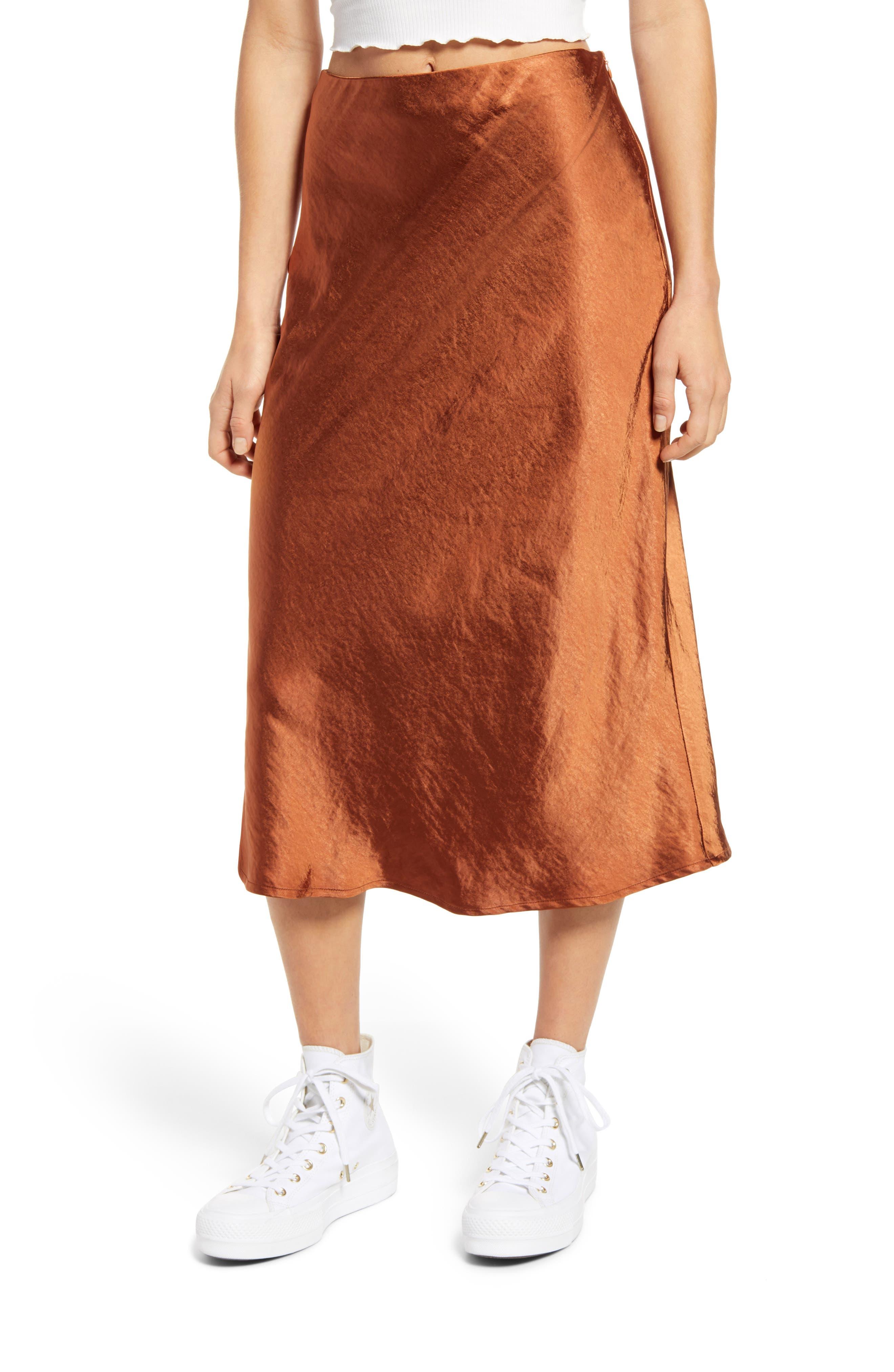 70s Dresses – Disco Dress, Hippie Dress, Wrap Dress Womens Lulus Satin A-Line Midi Skirt Size X-Small - Brown $48.00 AT vintagedancer.com