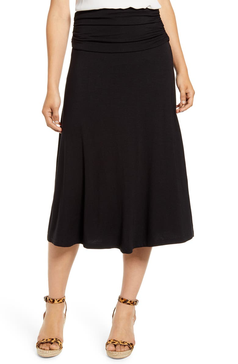 BOBEAU Andie Convertible Knit Skirt, Main, color, BLACK