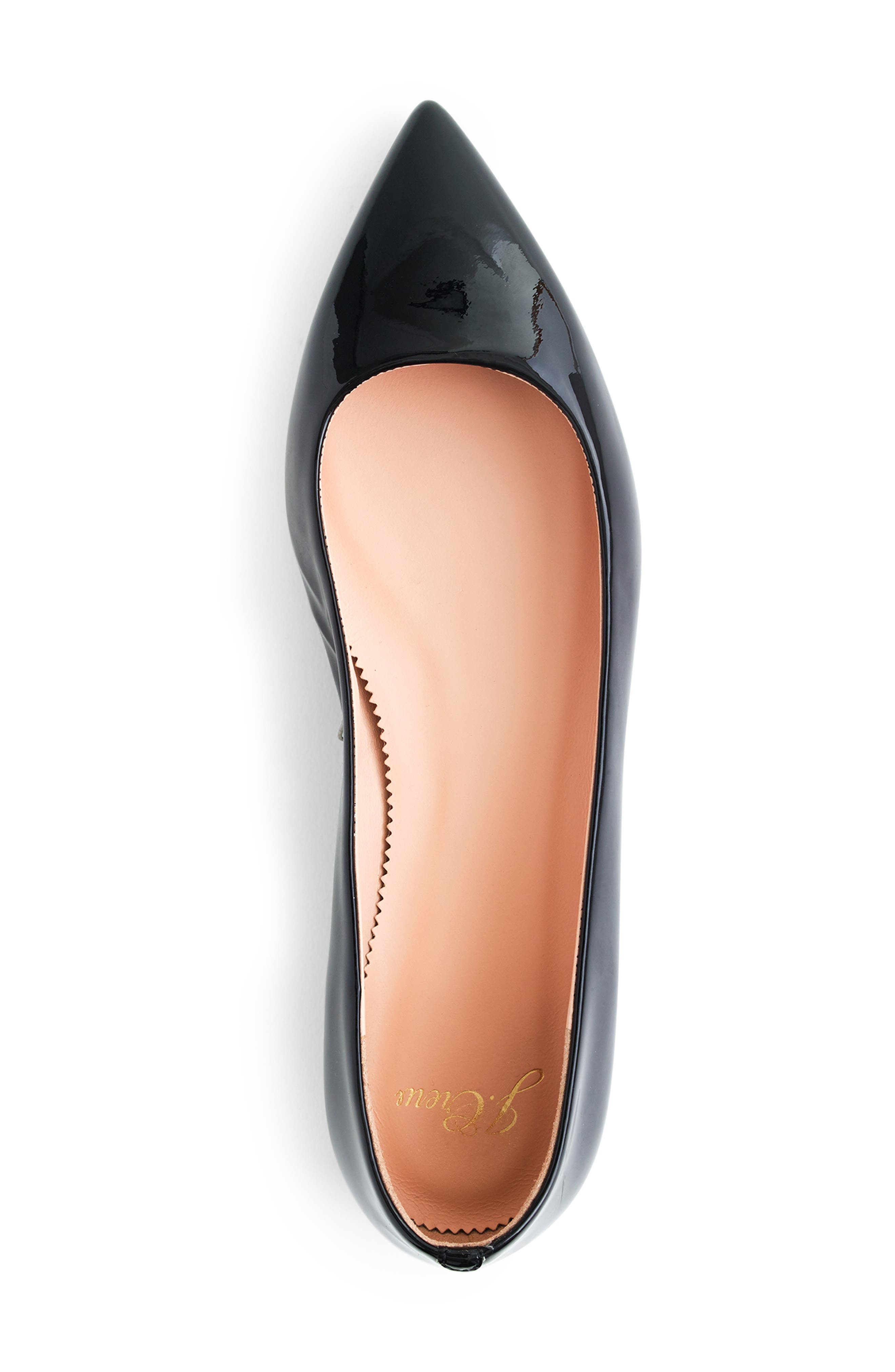 ,                             Pointed Toe Flat,                             Alternate thumbnail 3, color,                             BLACK PATENT LEATHER