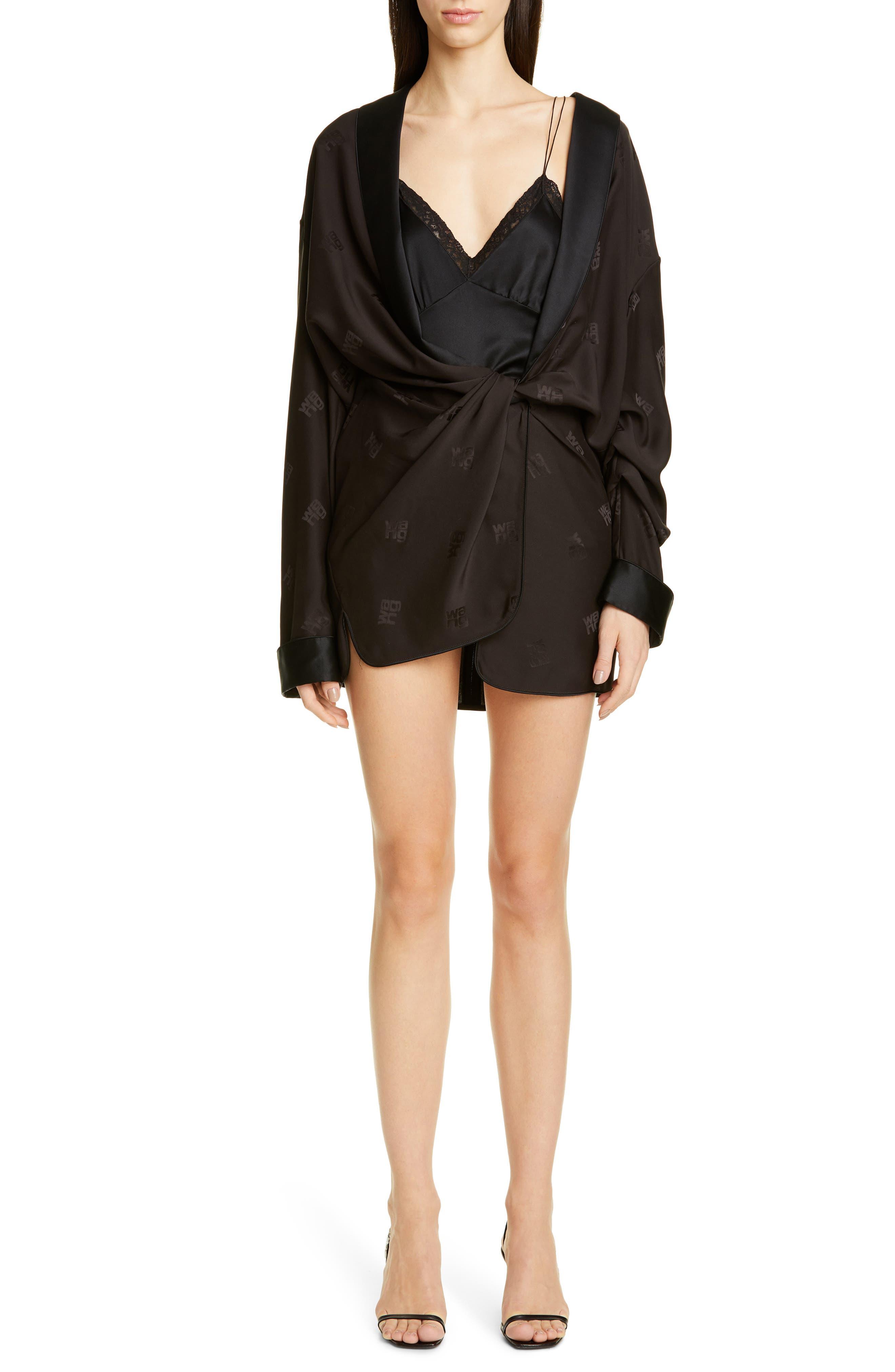Alexander Wang Draped Silk Pajama Romper, Black