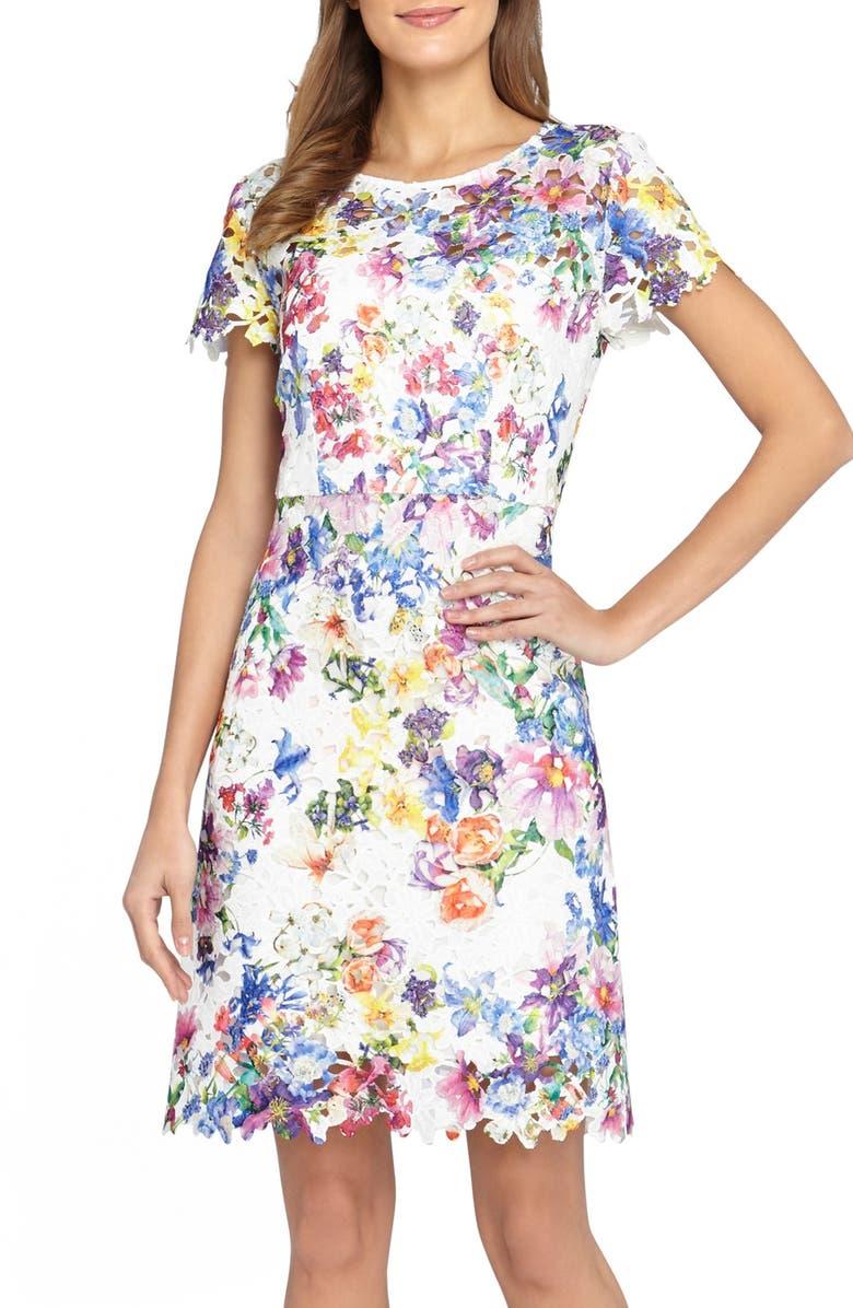 TAHARI Floral Lace Fit & Flare Dress, Main, color, 144