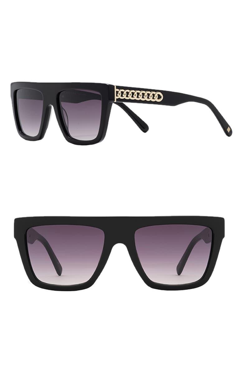 CAROLINA LEMKE Serena 55mm Flat Top Sunglasses, Main, color, BLACK/ GRADIENT SMOKE