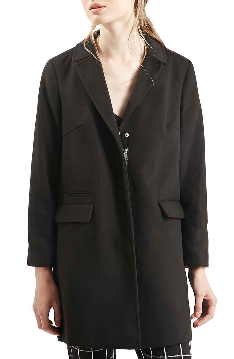 TOPSHOP 'Mia' Coat, Main, color, BLACK