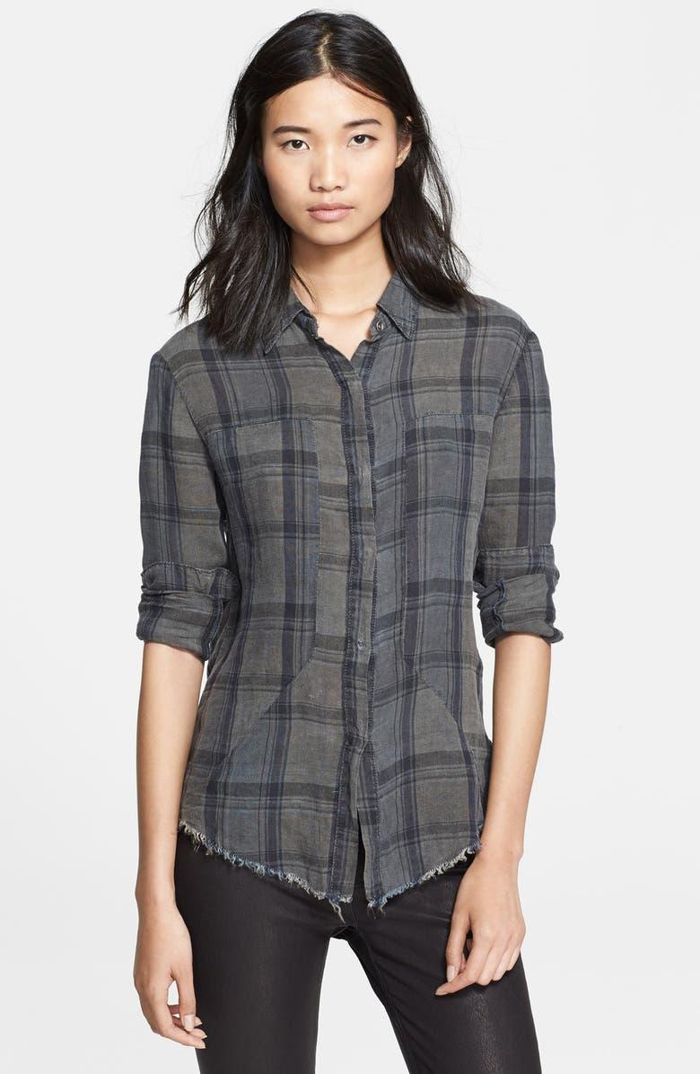 RTA Plaid Linen Shirt, Main, color, 020