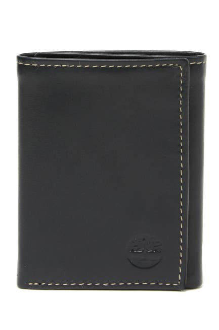 Image of Timberland Cloudy Logo Leather Trifold Wallet