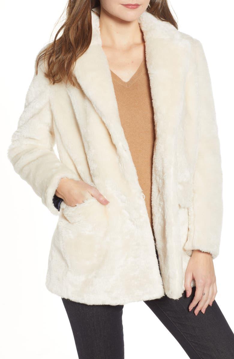 J.CREW Yuna Teddy Faux Fur Jacket, Main, color, 905
