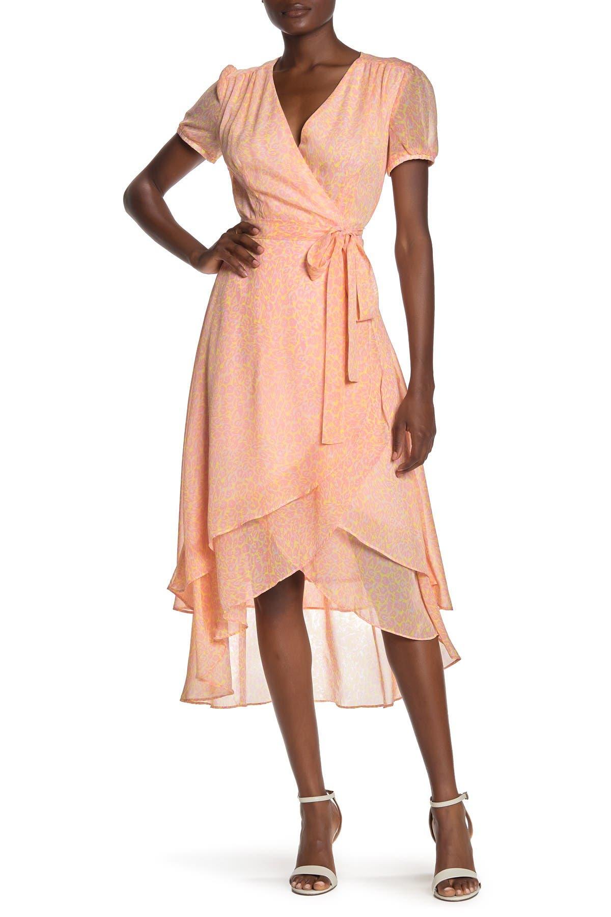 Image of Betsey Johnson Leopard Print Wrap Midi Dress