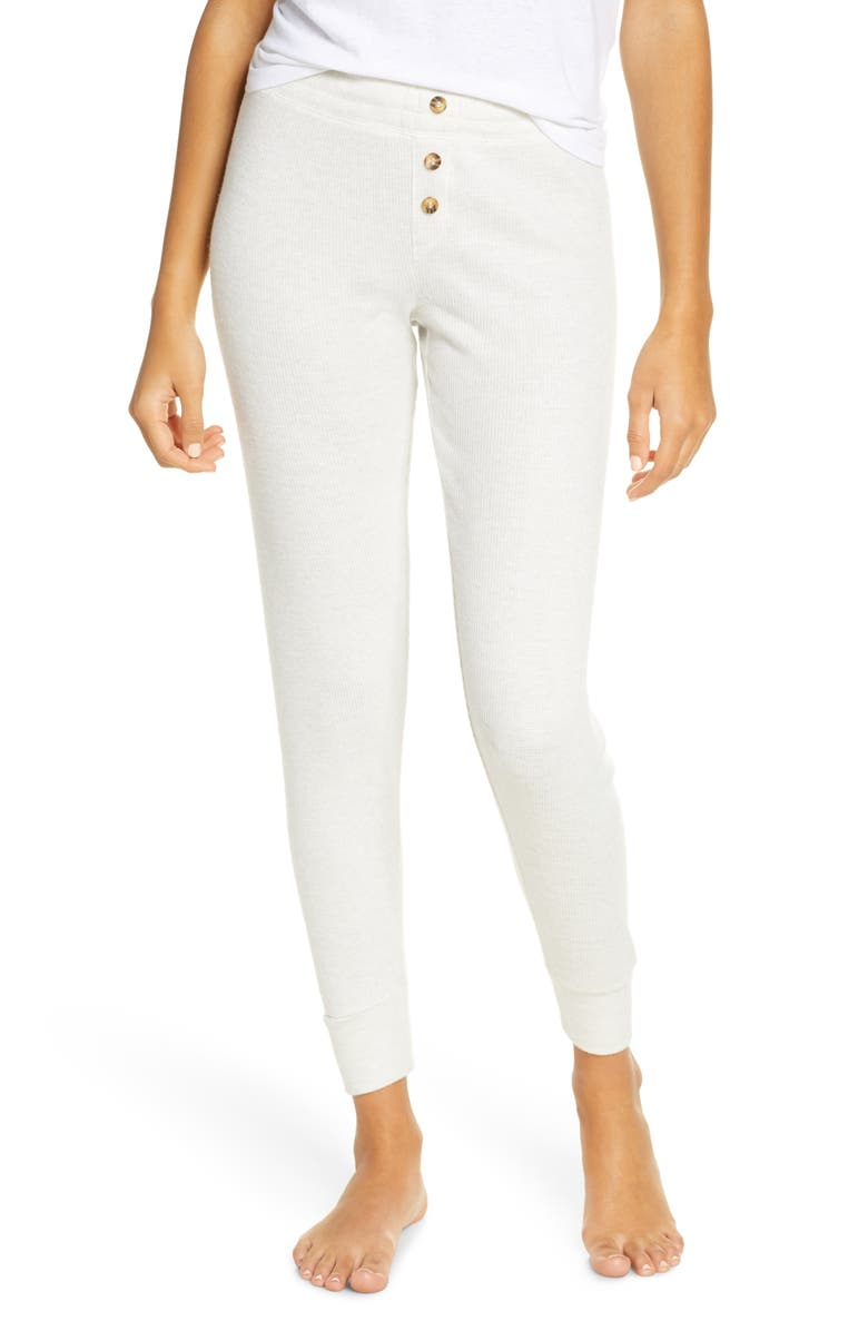 PJ SALVAGE Peachy Ribbed Lounge Pants, Main, color, BEIGE MELANGE