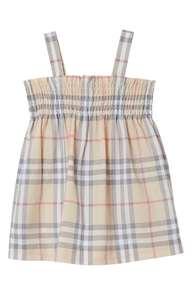 BURBERRY Smocked Dress, Main, color, PALE STONE CHECK