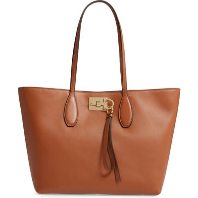 Salvatore Ferragamo Small The Studio Leather Tote - Brown