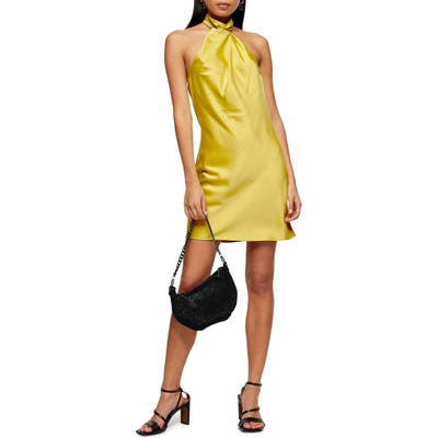 Topshop Satin Halter Minidress, US (fits like 10-12) - Yellow