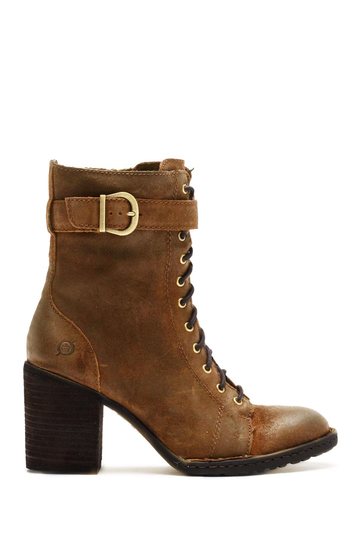 suede stacked heel boots