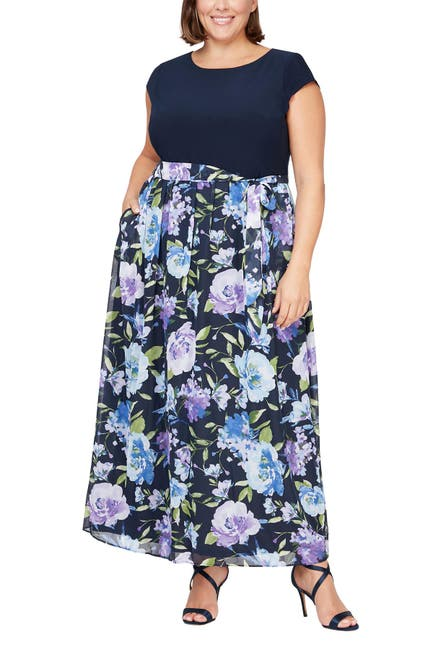 Image of SLNY Floral Skirted Maxi Dress
