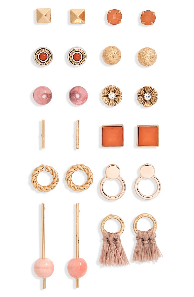 BP. Set of 12 Stud Earrings, Main, color, 660