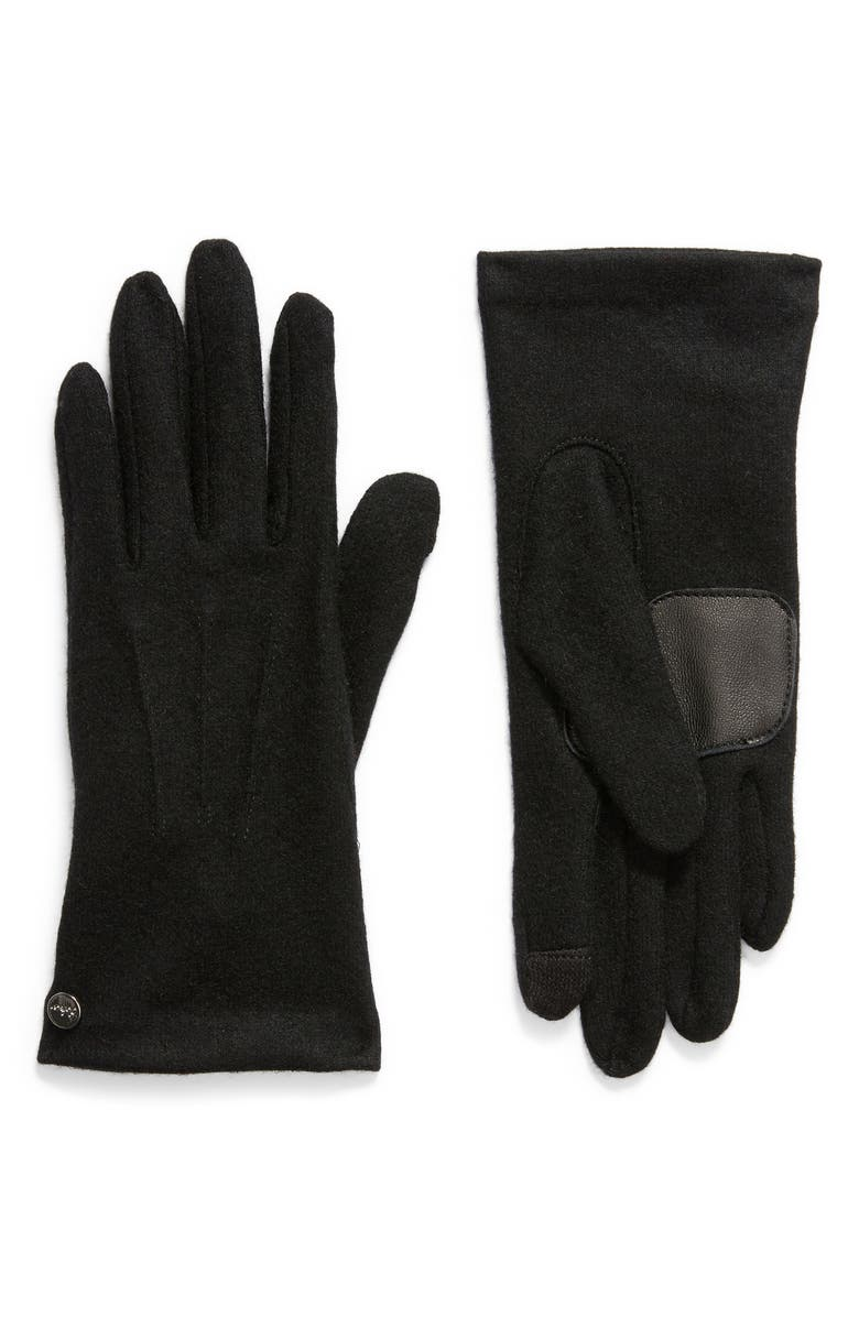 ECHO Wool & Cashmere Blend Water Repellent Touchscreen Gloves, Main, color, BLACK