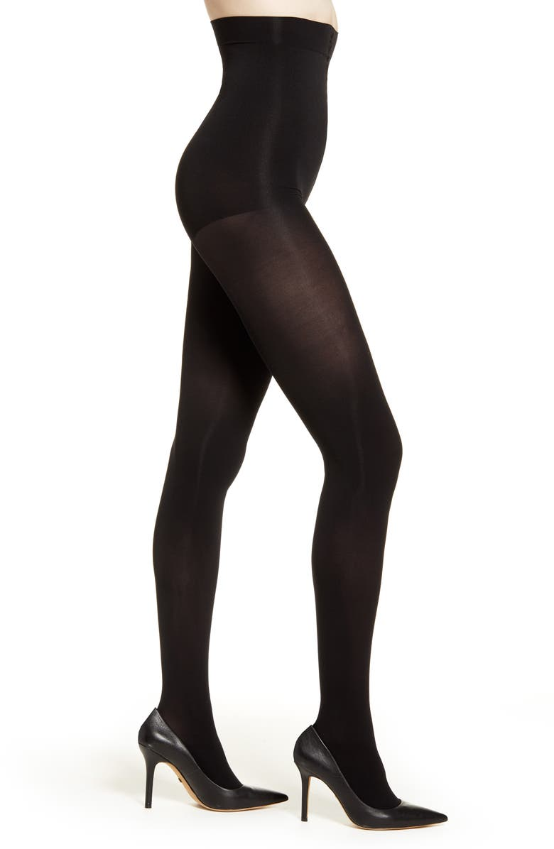 NATORI Velvet Touch 2-Pack Opaque Control Top Tights, Main, color, BLACK