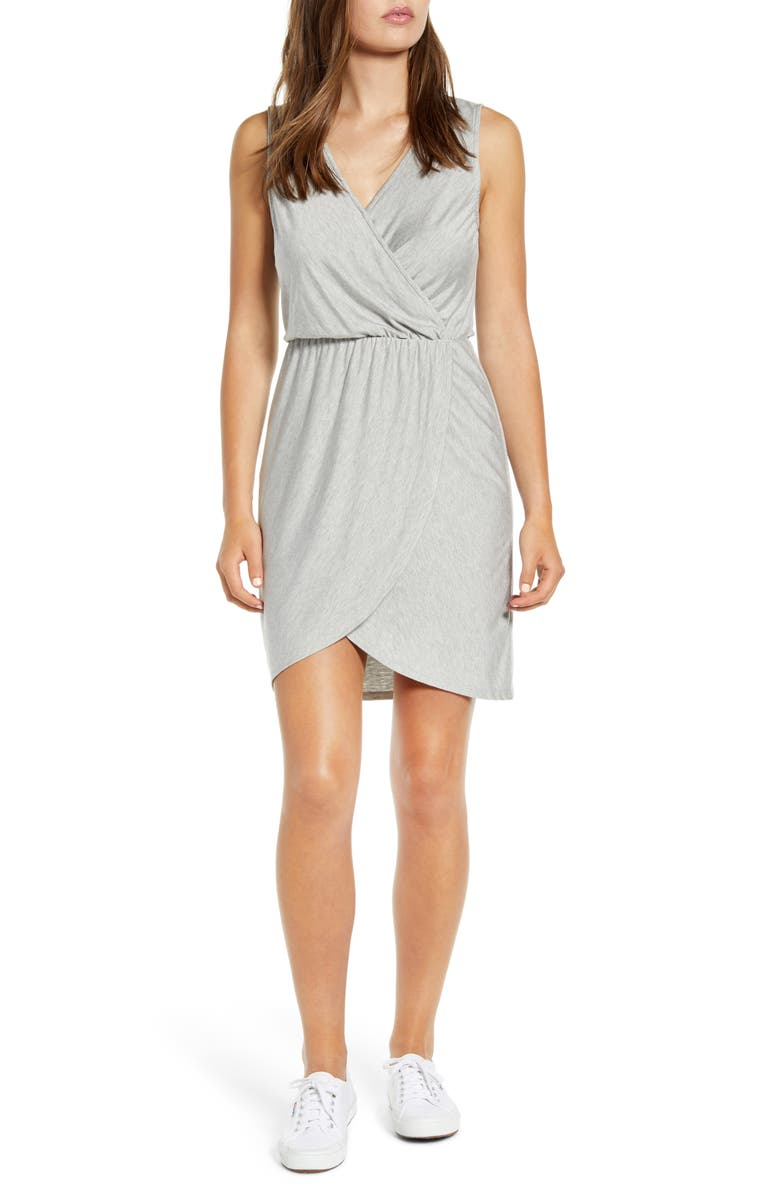 GIBSON x The Motherchic Avalon Faux Wrap Jersey Dress, Main, color, HEATHER GREY