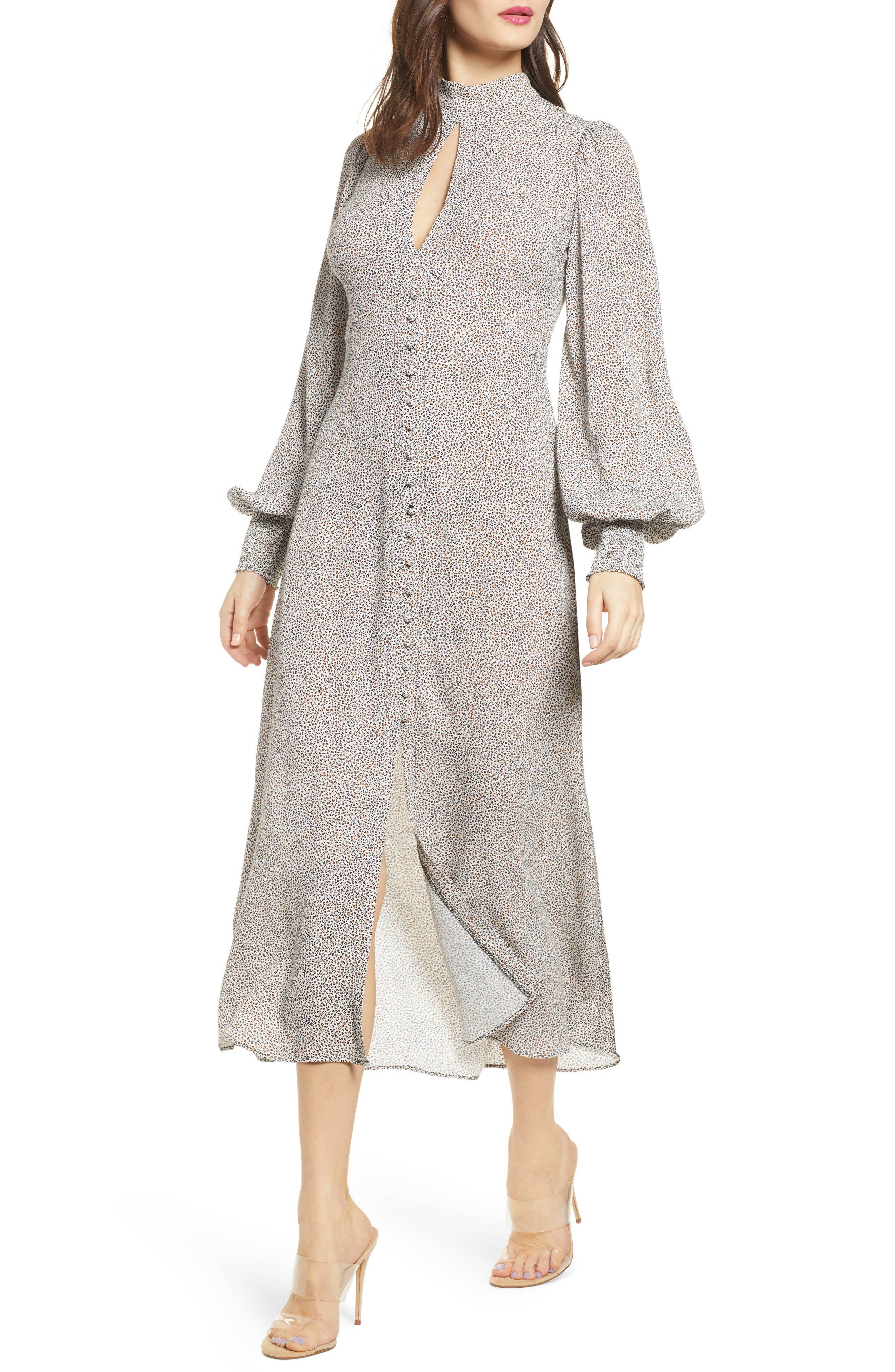 Afrm Print Long Sleeve Mock Neck Midi Dress, Black