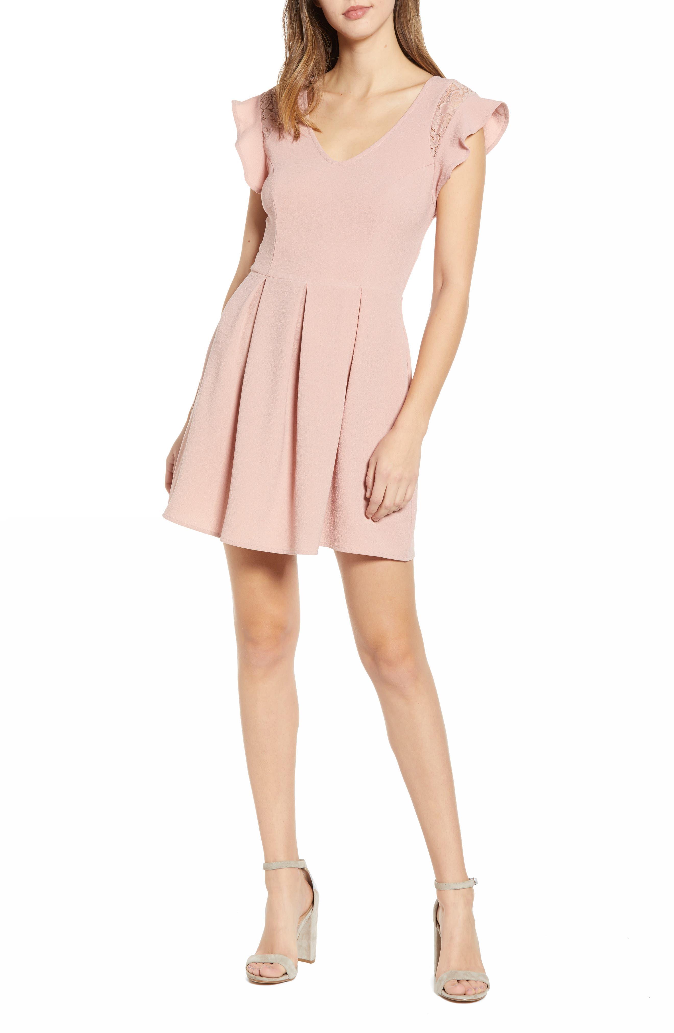 Speechless Crepe Flutter Sleeve Fit & Flare Dress, Pink