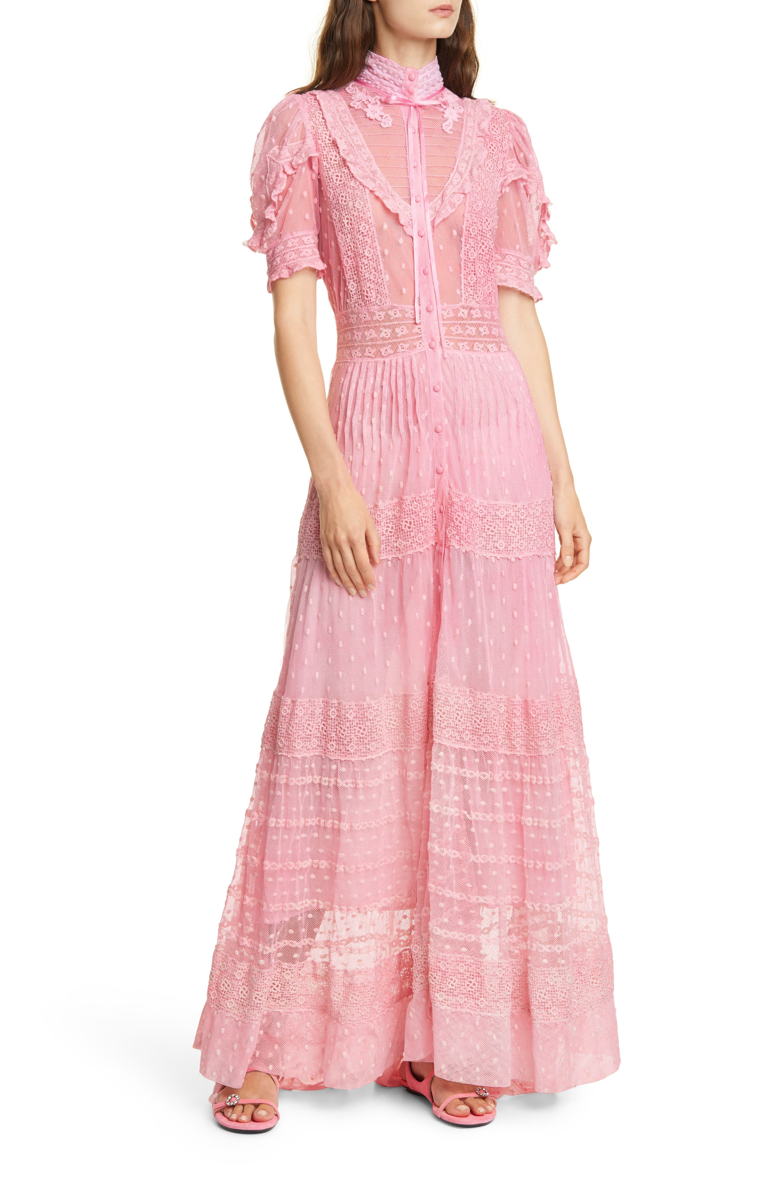 70s Prom, Formal, Evening, Party Dresses Womens Loveshackfancy Priya Lace  Swiss Dot Maxi Dress Size 8 - Pink $765.00 AT vintagedancer.com